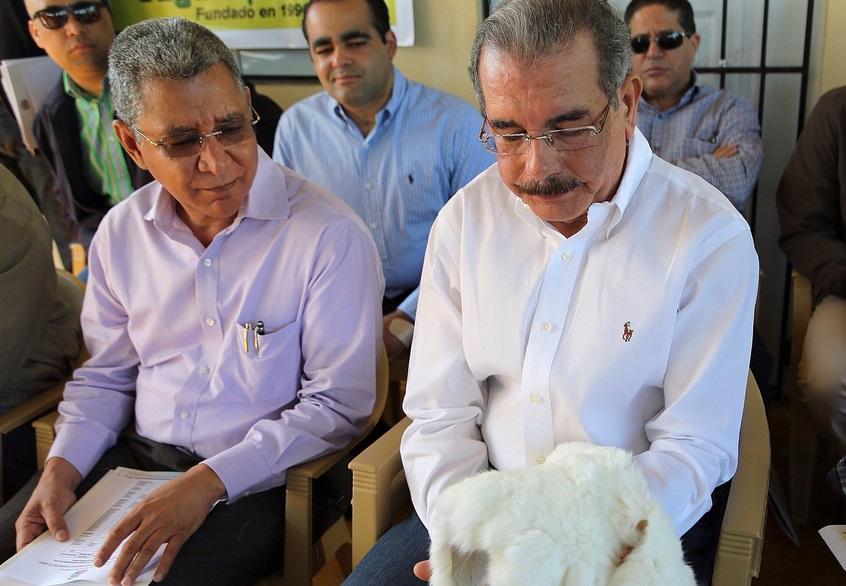 Danilo Medina con piel de conejo