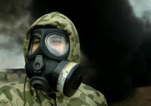 mascara humo fuego desastre guerra