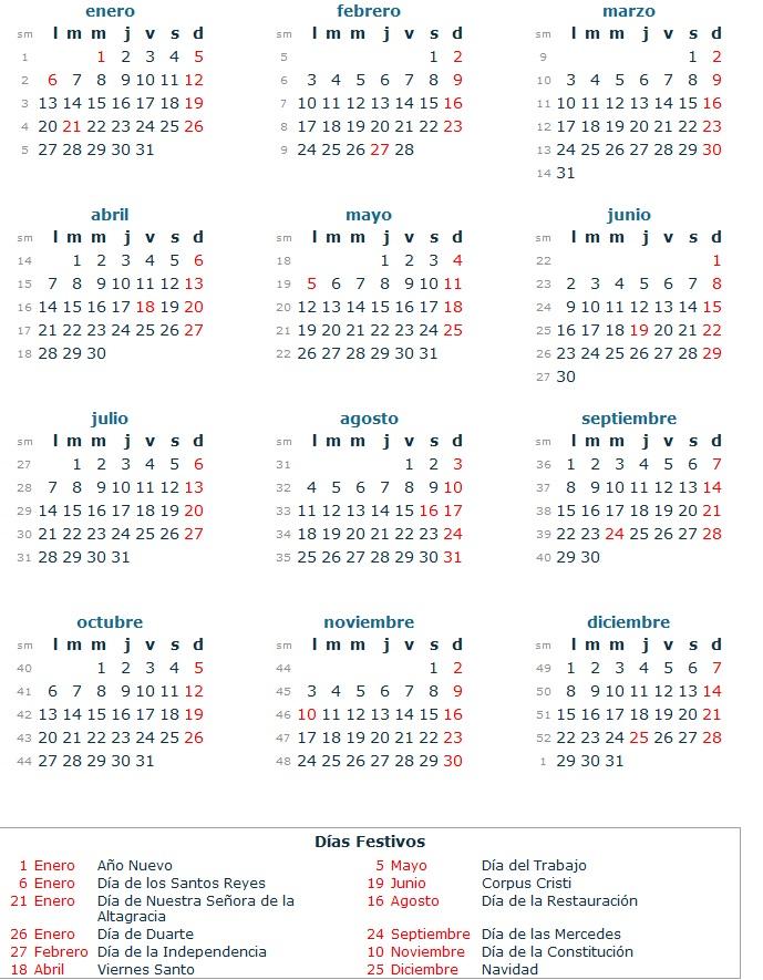 Calendario 2014 dias feriados